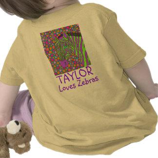 Tropical Zebra Art Personalized Loves Zebras Tee Shirts