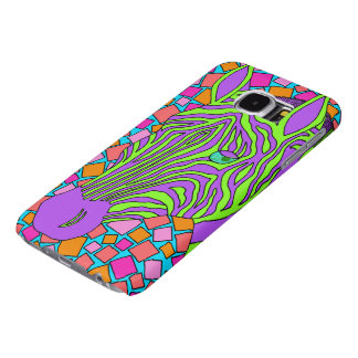 Tropical Zebra Purple And Green Stripes Mosaic Samsung Galaxy S6 Cases