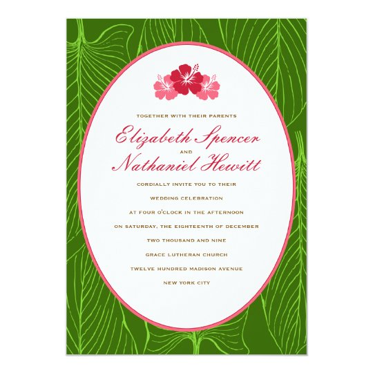 Tropicana Wedding Invitation in Red & Green