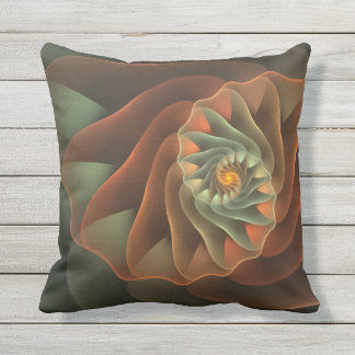 Tropicanna Orange and Green Abstract Spiral Outdoor Pillow