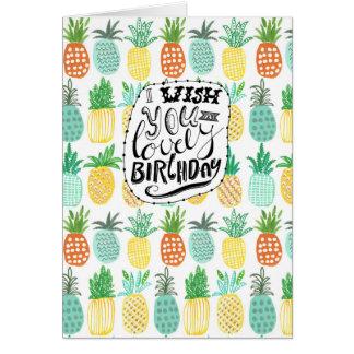 Tropics Birthday Pineapple Pattern   Greeting Card