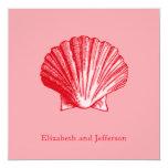 "Tropics Island Ginger Sea Shell Wedding Invitation 5.25"" Square Invitation Card"