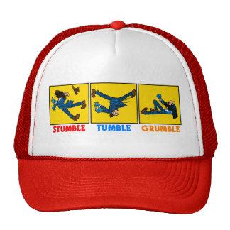 Tropiezo, caída, gorra de béisbol del queja