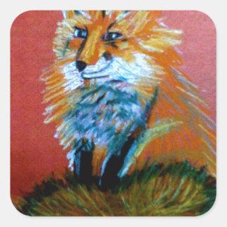Trote del Fox Pegatina Cuadradas Personalizada