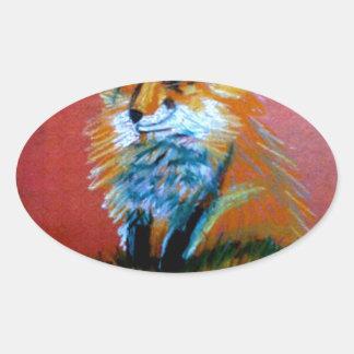 Trote del Fox Pegatina De Oval Personalizadas