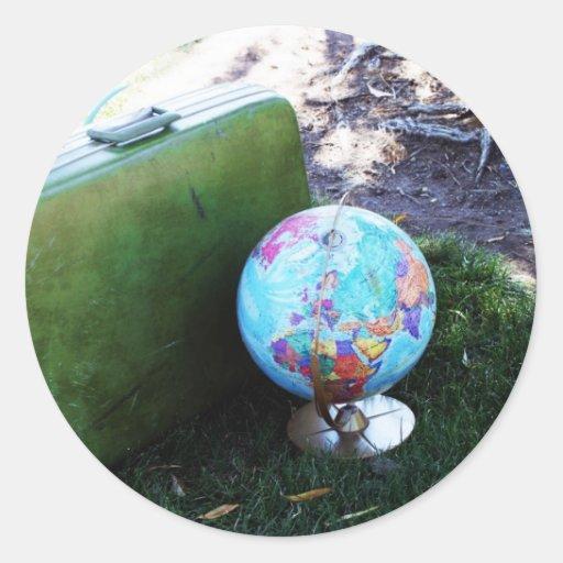 Trotón del globo pegatina redonda