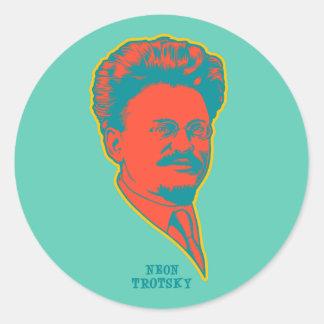 Trotsky de neón pegatinas redondas