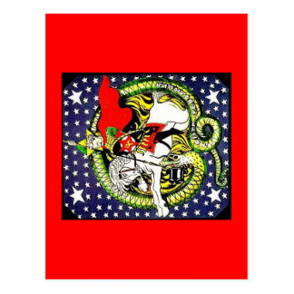 trotsky slaying the counter revolutionary dragon postcard