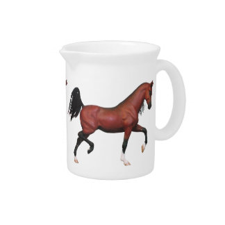 Trotting Bay Arabian Horse Art Party Drink Pitcher