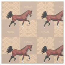 Trotting Bay Arabian Horse Equine Horse Lover Fabric