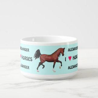 Trotting Bay Arabian Horse I Love Horses Custom Bowl