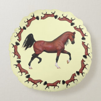 Trotting Bay Arabian Horse Pony Brown Horse Lover Round Pillow