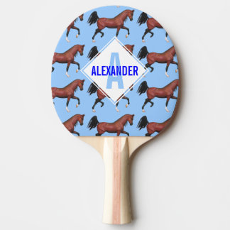 Trotting Bay Arabian Horse Stallion Equine Custom Ping Pong Paddle