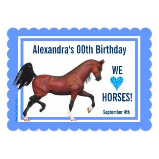 Trotting Bay Arabian Horse Themed Birthday Party Card