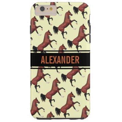 Trotting Bay Arabian Horses Fun Pattern Tough iPhone 6 Plus Case