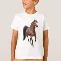 Trotting Bay Horse Kids T-Shirt