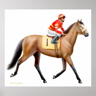 Trotting Bay Race Horse Print