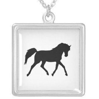 Trotting black horse silhouette necklace, gift square pendant necklace