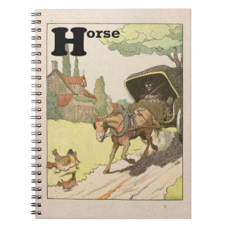 Trotting Horse and Buggy Alphabet Spiral Notebook