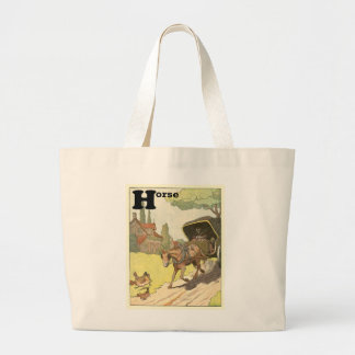 Trotting Horse and Buggy Large Tote Bag