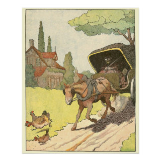 Trotting Horse and Carriage Alphabet Animals Poster