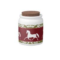 Trotting Horse Holiday Christmas Candy Jar
