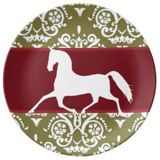 Trotting Horse Holiday Christmas Dinner Plate