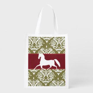 Trotting Horse Holiday Christmas Reusable Grocery Bag