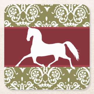 Trotting Horse Holiday Christmas Square Paper Coaster