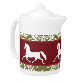 Trotting Horse Holiday Christmas Teapot