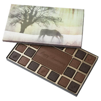 Trotting Horse Holiday Christmas 45 Piece Assorted Chocolate Box