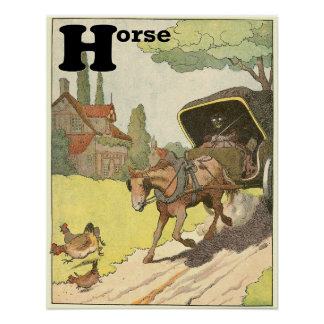 Trotting Horse Storybook Alphabet Poster