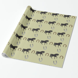 trotting horse with horse shoes wrapping paper