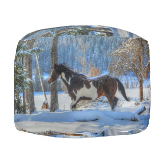 Trotting Pinto Paint Stallion & Winter Snows Pouf