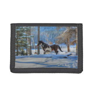 Trotting Pinto Paint Stallion & Winter Snows Trifold Wallet
