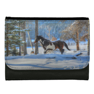 Trotting Pinto Paint Stallion & Winter Snows Wallets