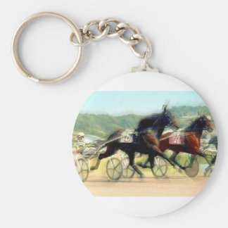 trotting power horse racing basic round button keychain