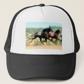 trotting power horse racing trucker hat