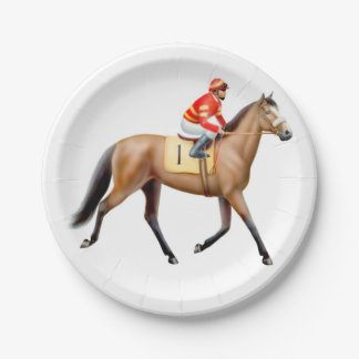 Trotting Thoroughbred Racehorse Paper Plates
