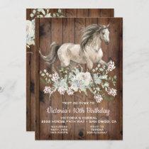Trotting Watercolo Horse Birthday Party Invitation