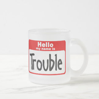 trouble2 frosted glass coffee mug