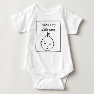 Trouble is my middle name baby bodysuit