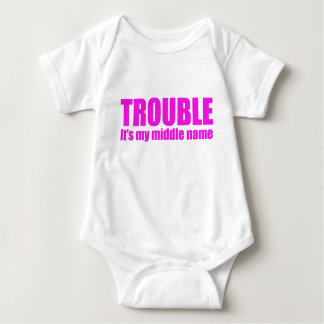 Trouble - It's my middle name (pink) Baby Bodysuit