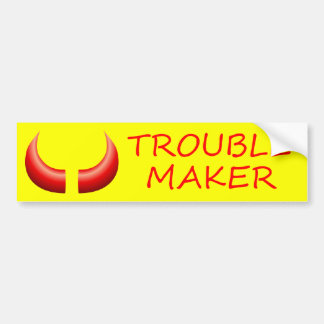 Trouble Maker &  Devil Horns Bumper Sticker Car Bumper Sticker