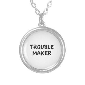 Trouble Maker Round Pendant Necklace