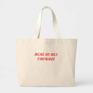 TROUBLE.png Tote Bags