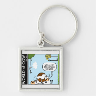 Trouble Silver-Colored Square Keychain
