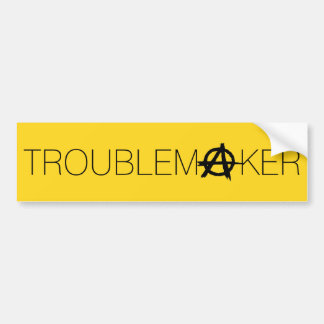 Troublemaker Anarchy: Black and Gold Bumper Sticker