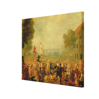 Troupe of Actors Performing on a Tightrope Canvas Print