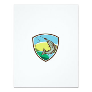Trout Biting Hook Lure Shield Retro Card